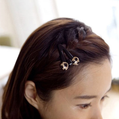 Milly leopard color bowknot decorated hollow out design alloy Hair clip hair claw