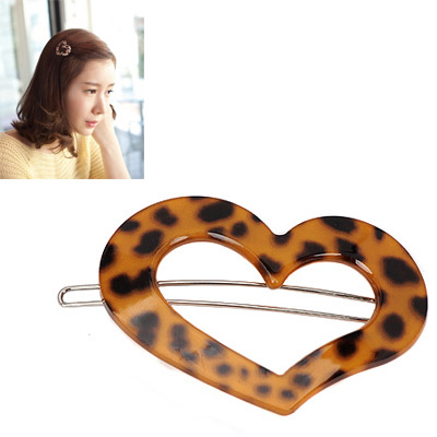 2012  leopard color heart shape hollow out design alloy Hair clip hair claw