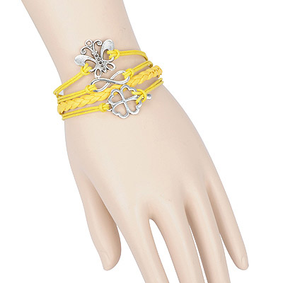 Headrest yellow butterfly decorated multilayer design alloy Korean Fashion Bracelet