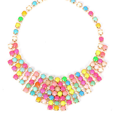 Nautical multicolor gemstone decorated multilayer design alloy Bib Necklaces
