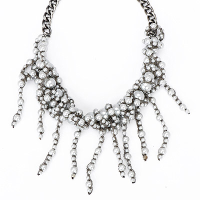 Peterbilt gray pearl decorated tassel design alloy Bib Necklaces
