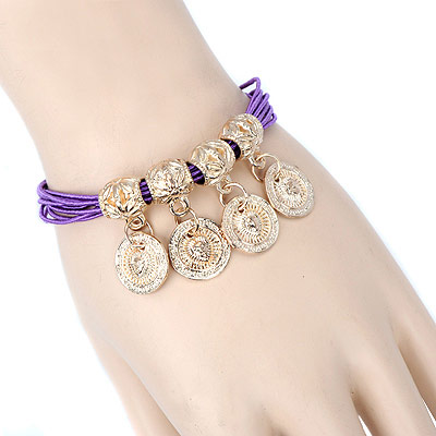 Pentacle purple round pendant decorated multilayer design alloy Korean Fashion Bracelet