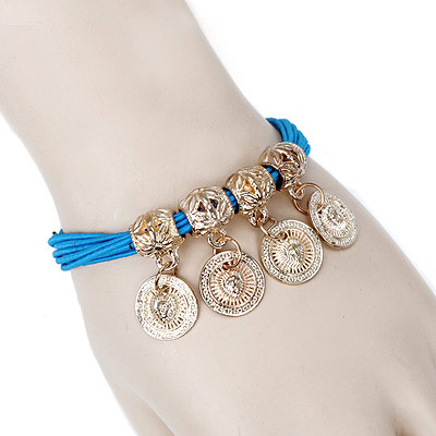 Pewter blue round pendant decorated multilayer design alloy Korean Fashion Bracelet