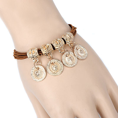 Christmas coffee round pendant decorated multilayer design alloy Korean Fashion Bracelet