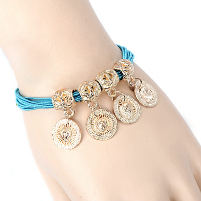 Short sky blue round pendant decorated multilayer design alloy Korean Fashion Bracelet