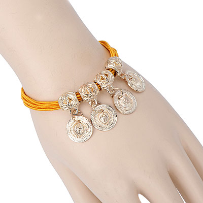 Natural yellow round pendant decorated multilayer design alloy Korean Fashion Bracelet