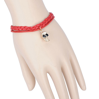 Collapsibl red skull decorated double layer design alloy Korean Fashion Bracelet