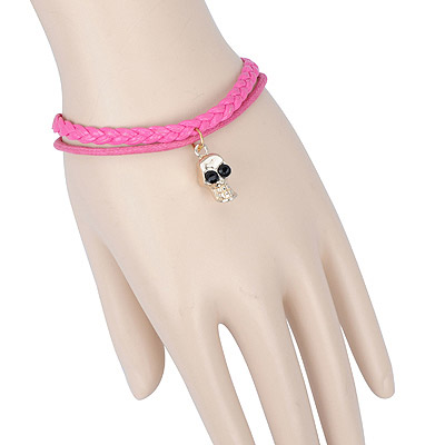 Dangle plum red skull decorated double layer design alloy Korean Fashion Bracelet