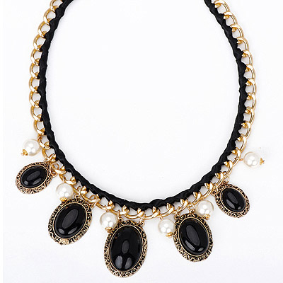 University black gemstone decorated oval shap design alloy Bib Necklaces