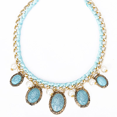 Stylish blue gemstone decorated oval shap design alloy Bib Necklaces