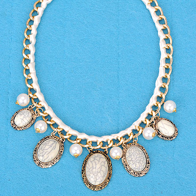 Local beige gemstone decorated oval shap design alloy Bib Necklaces