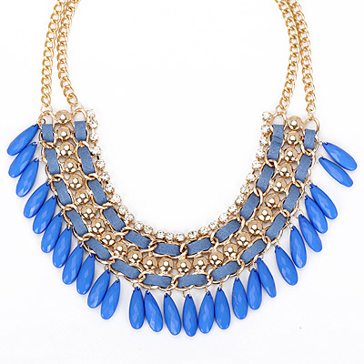 Define blue diamond decorated tassel design alloy Bib Necklaces