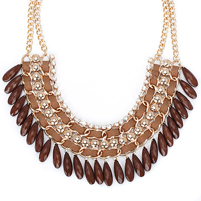 Uniqe coffee diamond decorated tassel design alloy Bib Necklaces