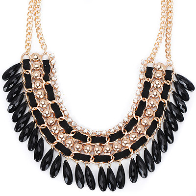 Hot black diamond decorated tassel design alloy Bib Necklaces