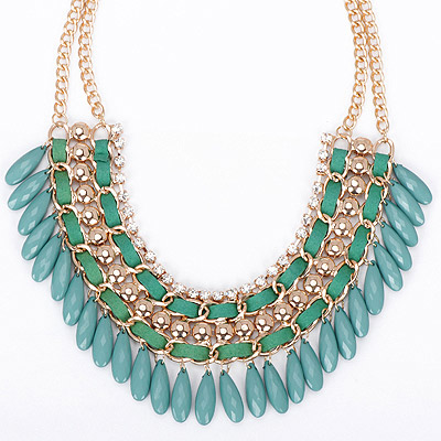 Toddler green diamond decorated tassel design alloy Bib Necklaces