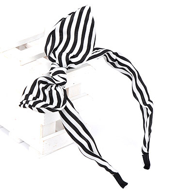 Doggie black & white stripe pattern decorated bowknot design chiffon Hair band hair hoop