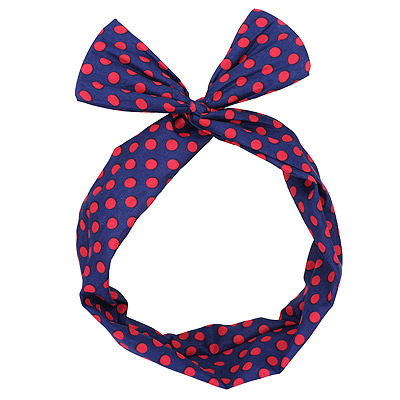 Pleated navy blue dot decorated simple design chiffon Hair band hair hoop