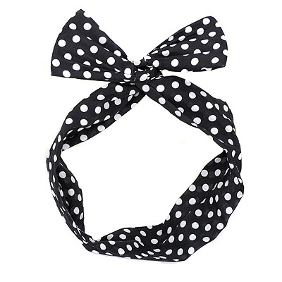 Promo black dot decorated simple design chiffon Hair band hair hoop