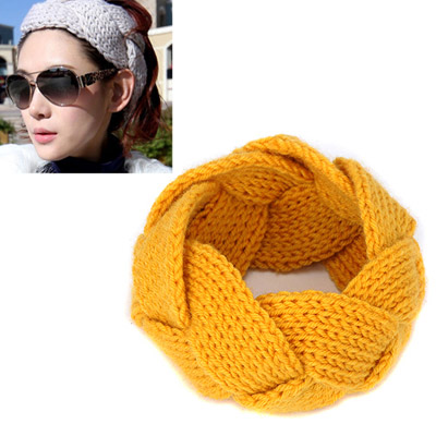 Facial yellow twist weave simple design wool Hair band hair hoop