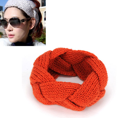 Ladies orange twist weave simple design wool Hair band hair hoop