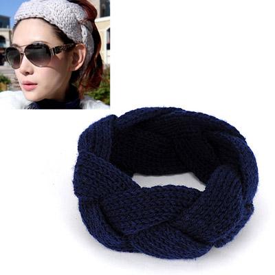 Twilight navy blue twist weave simple design wool Hair band hair hoop