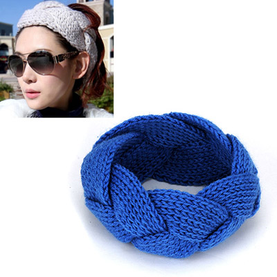 Teen sapphire blue twist weave simple design wool Hair band hair hoop