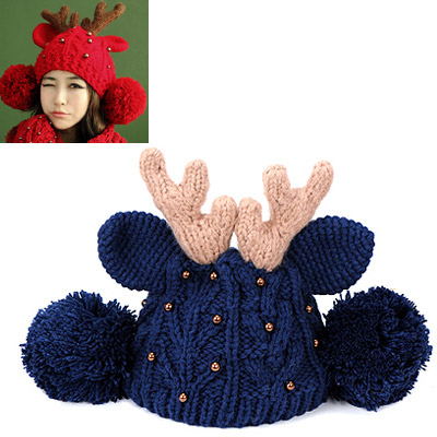 Single navy blue beads decorated deer ears shape design