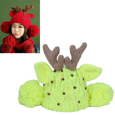 Athletic fluorescent yellow beads decorated deer ears shape design wool Knitting Wool Hats