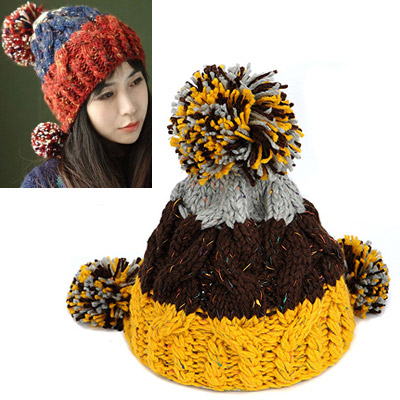 Ruby gray dark coffee yellow big ball decorated twist design wool Knitting Wool Hats