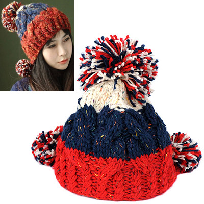 Bulk white dark blue red big ball decorated twist design wool Knitting Wool Hats