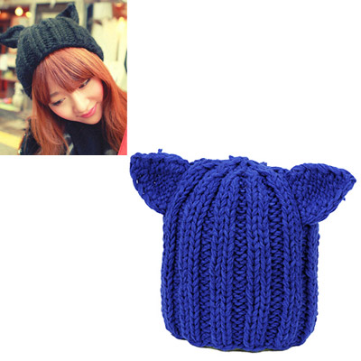 Mustard sapphire blue little ears decorated simple design wool Knitting Wool Hats