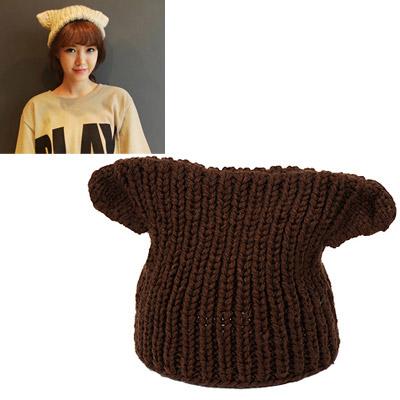 Wool brown big ears decorated simple design