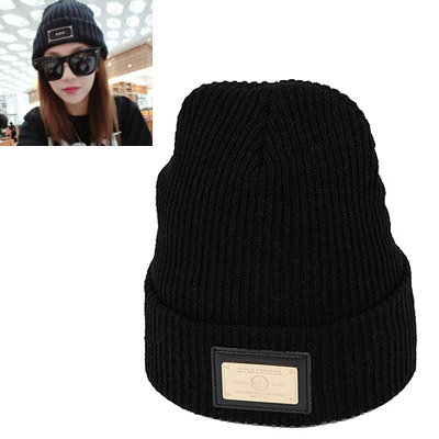 Rave gold color square matel decorated simple design wool Knitting Wool Hats