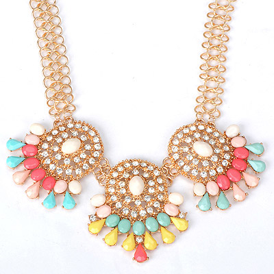 Chiropract multicolor diamond decorated hollow out design alloy Bib Necklaces