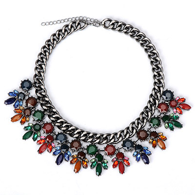 Fit multicolor diamond decorated simple design alloy Bib Necklaces