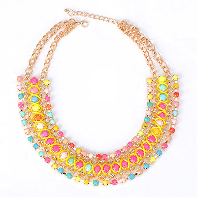 Elegant multicolor gemstone decorated multilayer design alloy Bib Necklaces