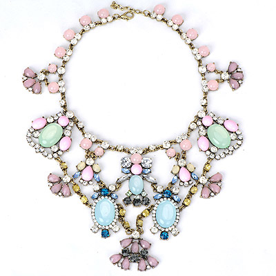 Heather multicolor gemstone decorated geometrical shape design alloy Bib Necklaces