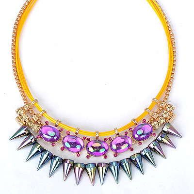 Customized multicolor diamond decorated rivet shape design alloy Bib Necklaces