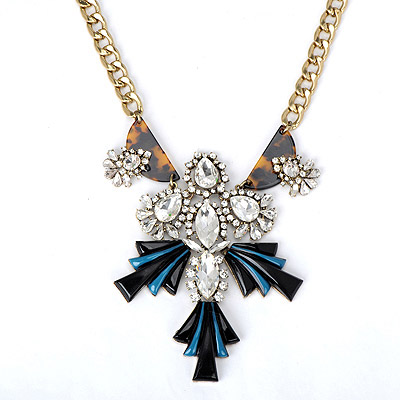 Hippie black & white diamond decorated geometrical shape design alloy Bib Necklaces