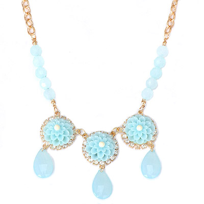 Dangle light blue flower decorated simple design alloy Bib Necklaces