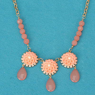 Scrapbooki pink flower decorated simple design alloy Bib Necklaces