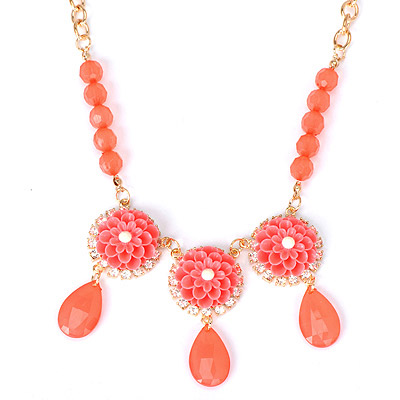 Medieval watermelon red flower decorated simple design alloy Bib Necklaces