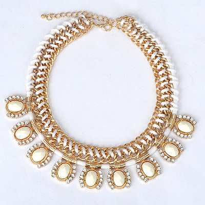 Expression white gemstone decorated weave design alloy Bib Necklaces
