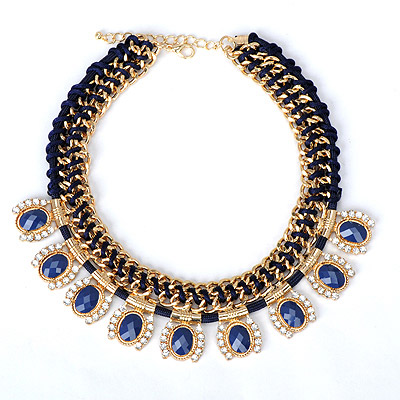Peterbilt sapphire blue gemstone decorated weave design alloy Bib Necklaces