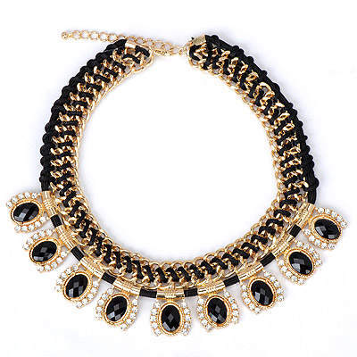 Harry black gemstone decorated weave design alloy Bib Necklaces