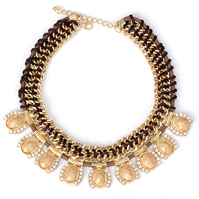 Beige beige gemstone decorated weave design alloy Bib Necklaces