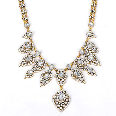 Victorian white diamond decorated simple design alloy Bib Necklaces