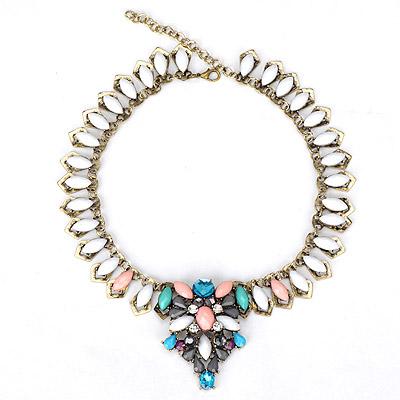 Chiropract white gemstone decorated waterdrop shape design alloy Bib Necklaces