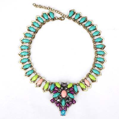 Peterbilt green gemstone decorated waterdrop shape design alloy Bib Necklaces