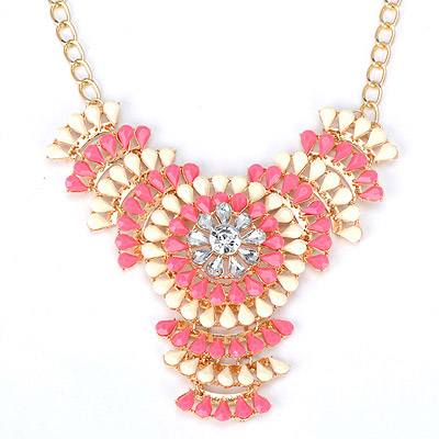 Authentic plum red & white flower decorated hollow out design alloy Bib Necklaces